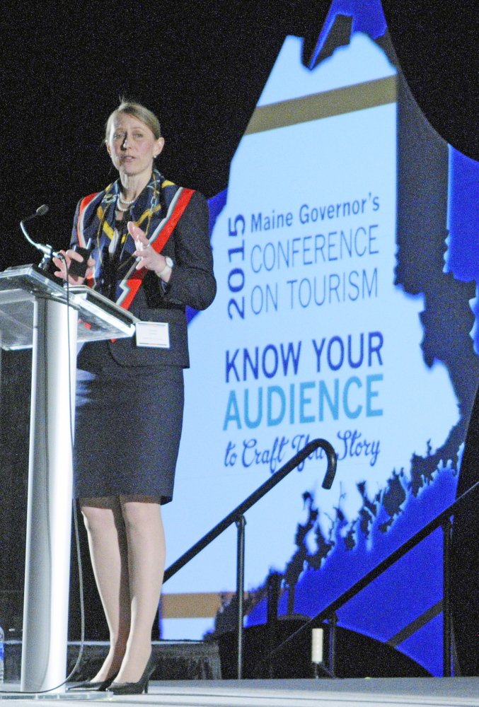 Carolann Ouellette, director of tourism and film for the Department of Economic and Community Development, talks about the future of tourism in Maine on Wednesday at the Augusta Civic Center.