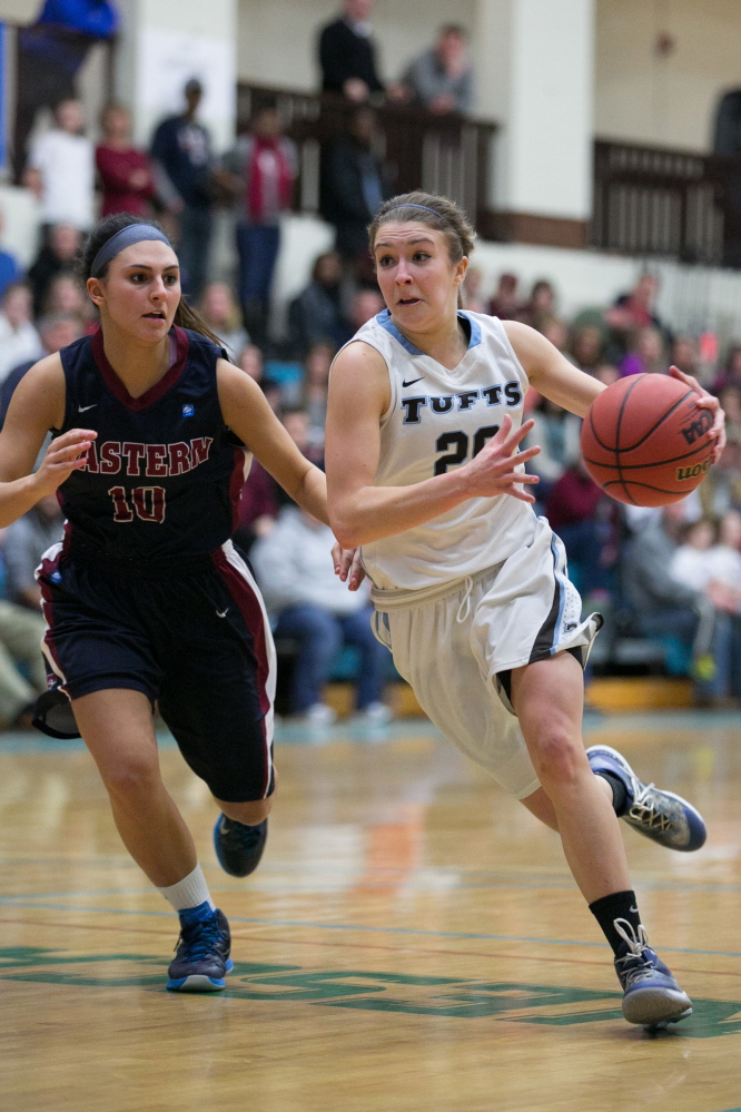 Tufts guard Josie Lee, right, drives to the basket during an NCAA Division III tournament game against Eastern Connecticut State last Friday. Tufts prevailed 46-31. Lee, a former Cony standout, starts for the Jumbos, who will compete in the Final Four this weekend.