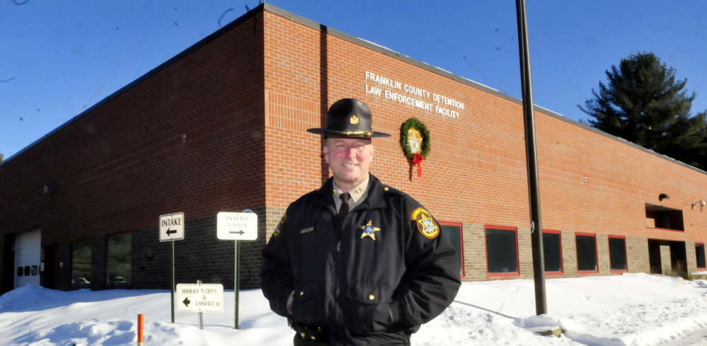 Franklin County Sheriff Scott Nichols stands outside the county jail in Farmington in January. The jail will reopen as a county jail in April after being a 72-hour holding center for the past few years.