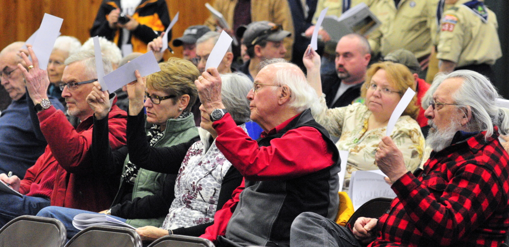 Belgrade citizens hold up paper slips to vote on Saturday in the Town Meeting at the Center For All Seasons in Belgrade.