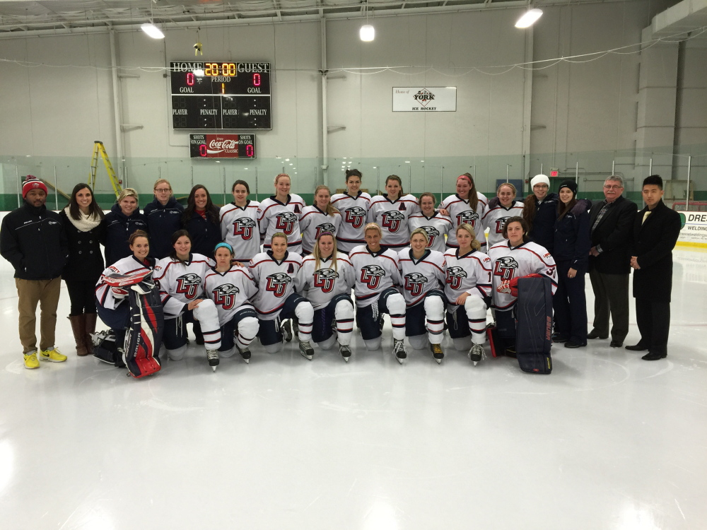 The Liberty University women's club ice hockey team captured the ACHA Division I championship with a 4-1 win over Miami (Ohio) on March 8. Sarah Fowler, of Winslow, is a junior on the team.
