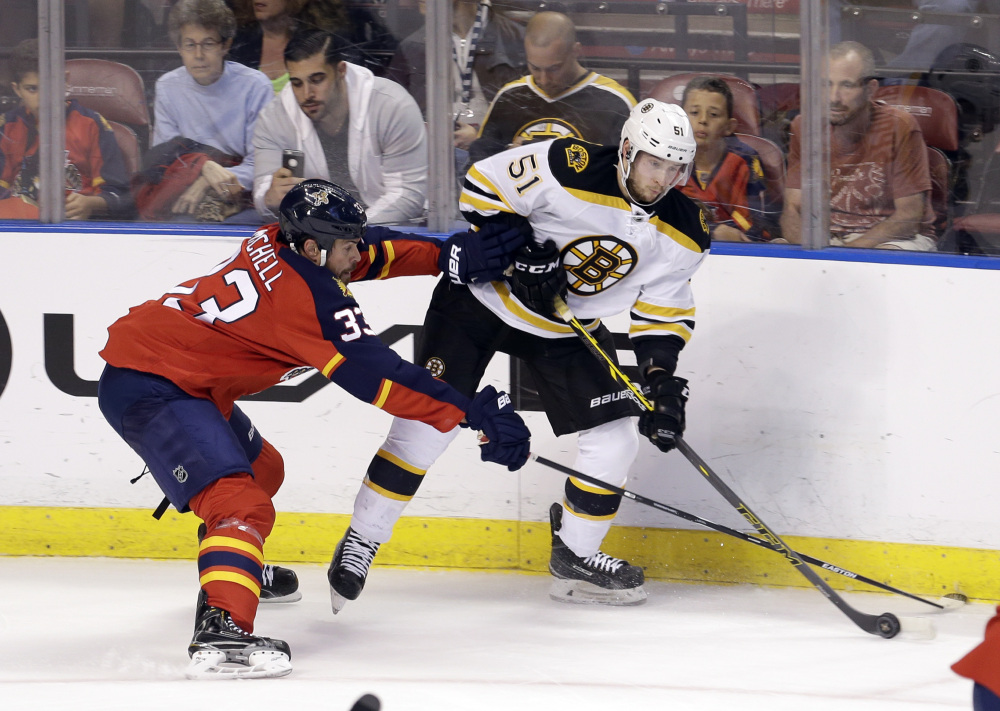 Florida Panthers defenseman Willie Mitchell, 33, checks Boston Bruins center Ryan Spooner, 51, in the second period Saturday in Sunrise, Fla. The Panthers won 2-1 in a shootout.