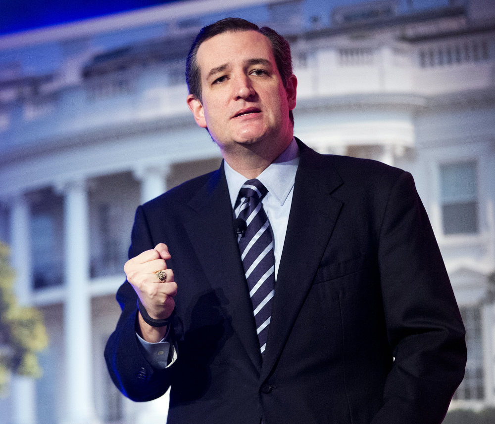 In this March 10, 2015, file photo, Sen. Ted Cruz, R-Texas, speaks at the International Association of Firefighters (IAFF) Legislative Conference and Presidential Forum in Washington. Cruz plans to announce Monday, March 23, 2015, that he is running for president.