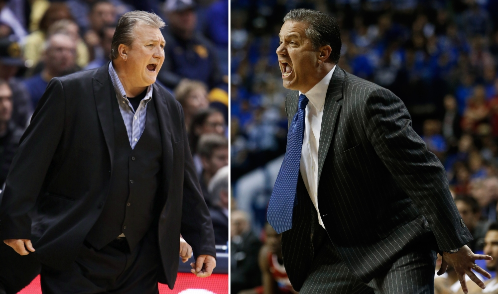 West Virginia head coach Bob Huggins, left, has an 8-2 record all-time against good friend and Kentucky head coach John Calipari, right. Kentucky and West Virginia play Thursday in the regional semifinals of the NCAA men's basketball tournament in Cleveland.