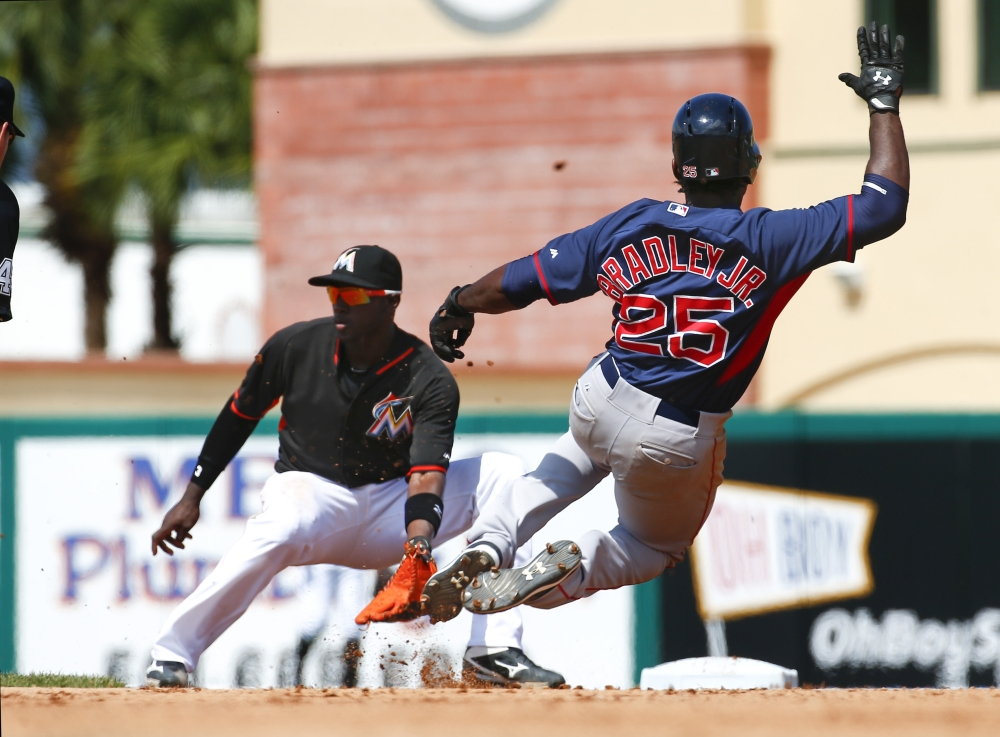 Boston Red Sox outfielder Jackie Bradley Jr. (25) slides before being tagged out at second base by Miami Marlins shortstop Adeiny Hechavarria in the seventh inning Tuesday of a spring training game in Jupiter, Fla. The Marlins won 9-4.