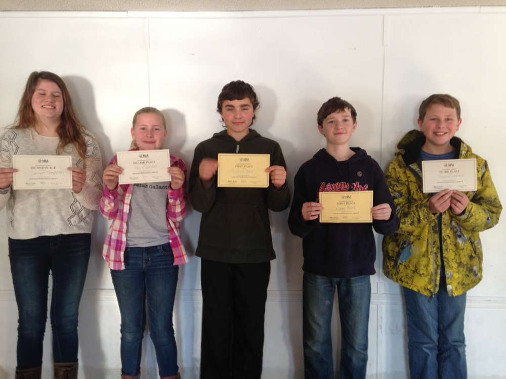 AMC 8 Competition, from left, are Sawyer Templeton, second place; Fay O'Donnell, second; Isaac Bell, first; Liam Buck, first; and Brandon Loveland, third.