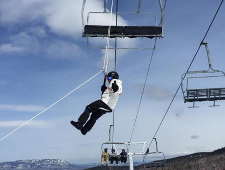 Hank Margolis, of Marlborough, Mass., was one of several skiers rescued Saturday from a chairlift at the Sugarloaf ski resort in Carrabassett Valley.