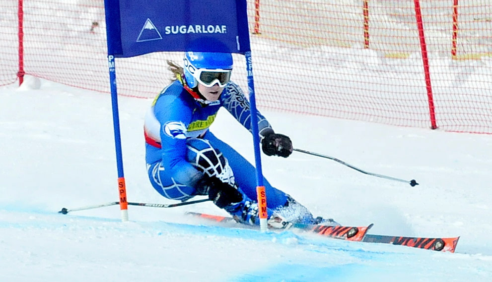 Colby College's Jeanne Barthold passes a gate during the giant slalom race at the U.S. Alpine Championships on Thursday at Sugarloaf Mountain.