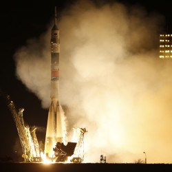 The Soyuz-FG rocket booster with Soyuz TMA-16M space ship blasts off at the Russian-leased Baikonur cosmodrome in Kazakhstan early Saturday. The Russian rocket carried U.S. astronaut Scott Kelly, and Russian cosmonauts Gennady Padalka and Mikhail Kornienko to the International Space Station.