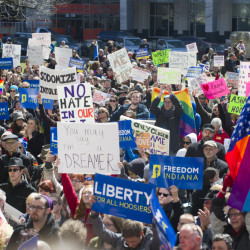 Thousands of opponents of Indiana Senate Bill 101, the Religious Freedom Restoration Act, gathered on the lawn of the Indiana State House to rally against that legislation Saturday.