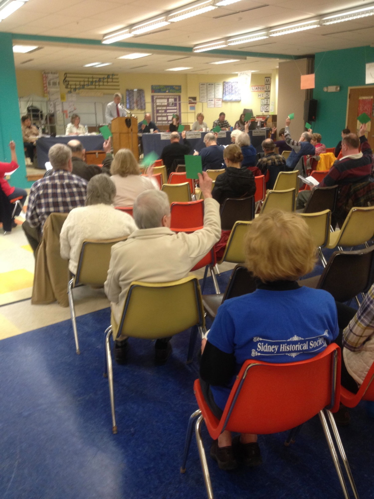 Sidney voters indicate their approval of an article with a show of green cards at Saturday's annual Town Meeting.