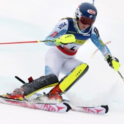 Mikaela Shiffrin carves a turn during her first run of the women's slalom race Saturday at the U.S. Alpine Ski Championship in Carrabassett Valley. Shiffrin won the event.