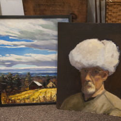 A self portrait and landscape painted by former defense attorney turned Assistant Attorney General John Alsop sits on the floor of his Cornville studio.