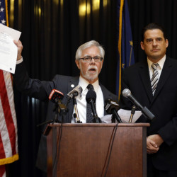 Indiana Senate Democratic Leader Tim Lanane, left, D-Anderson, and Indiana House Democratic Leader Scott Pelath, D-Michigan City, call for the repeal of the Indiana Religious Freedom Restoration Act during a press conference at the Statehouse in Indianapolis, Monday.
