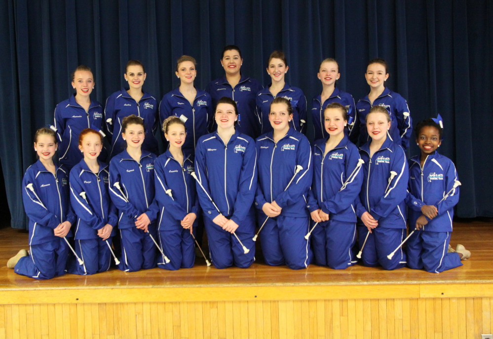 The Main-E-Acts Baton Twirling Team, front, from left, are Alanna Thomas, Paige Blackwell, Ingrid Plant, Cassidy Fish, Morgan Mayhew, Makenzie Sayers, Megan McCormick, Jessica Hymas and Helen Rebar. Back, from left, are Amanda Cameron, Carley Scanlon, Taylor Hickey, Alexandra Clowes, Jenna Cross, Lindsay Pitts and Mollie Berglund.