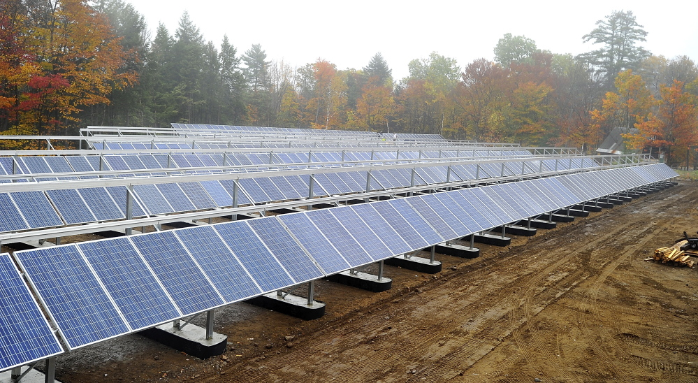 Part of an 800-panel solar installation is seen last year at Mount Abram Ski Area in Greenwood. A developer has proposed a 2,800-panel installation for the town of Washington.
