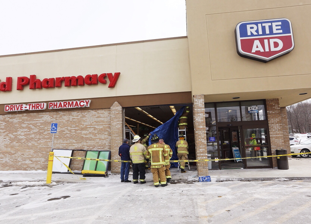 One person inside the Rite Aid store was injured when a car crashed through the storefront.