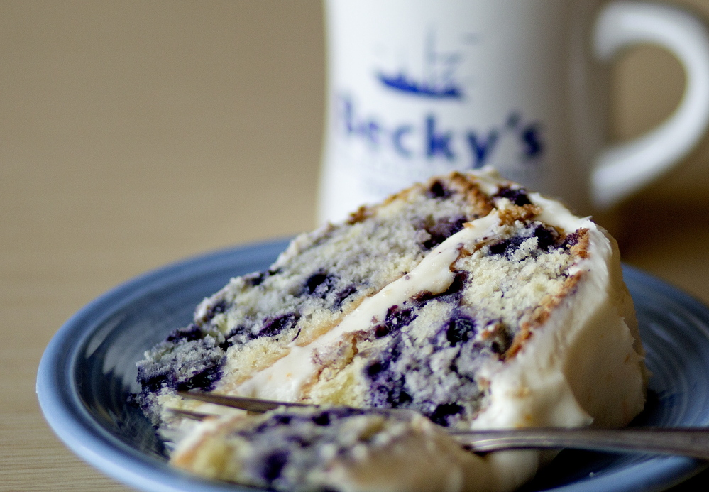 """Blueberry cake made using the Becky's Diner recipe in """"The New England Diner Cookbook."""""""