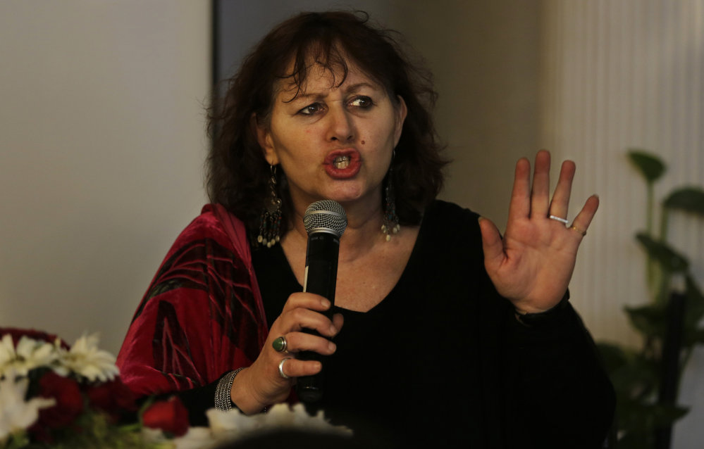Filmmaker Leslee Udwin speaks Tuesday in New Delhi, India. Her documentary about a 2012 gang rape on a bus will be shown March 8, International Women's Day, in India, Britain, Denmark and Sweden.