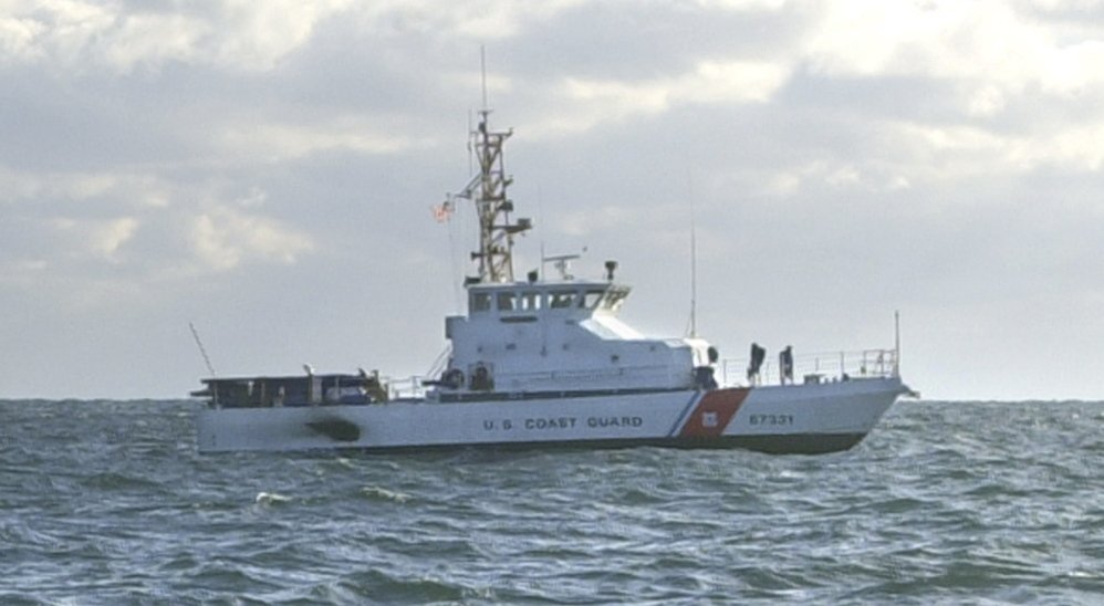 The cutter suffered hull damage in a grounding last month and is being towed to Baltimore for repairs.