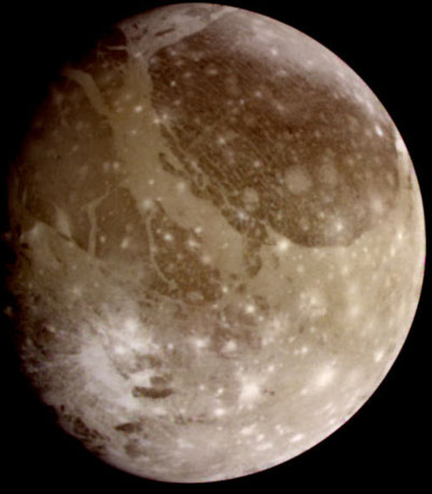 This June 2000 image provided by NASA taken by NASA's Galileo spacecraft shows Ganymede, Jupiter's largest moon. Scientists reported Thursday, March 12, 2015 there's evidence of an ocean beneath the icy surface of Ganymede based on new observations by the Hubble Space Telescope.