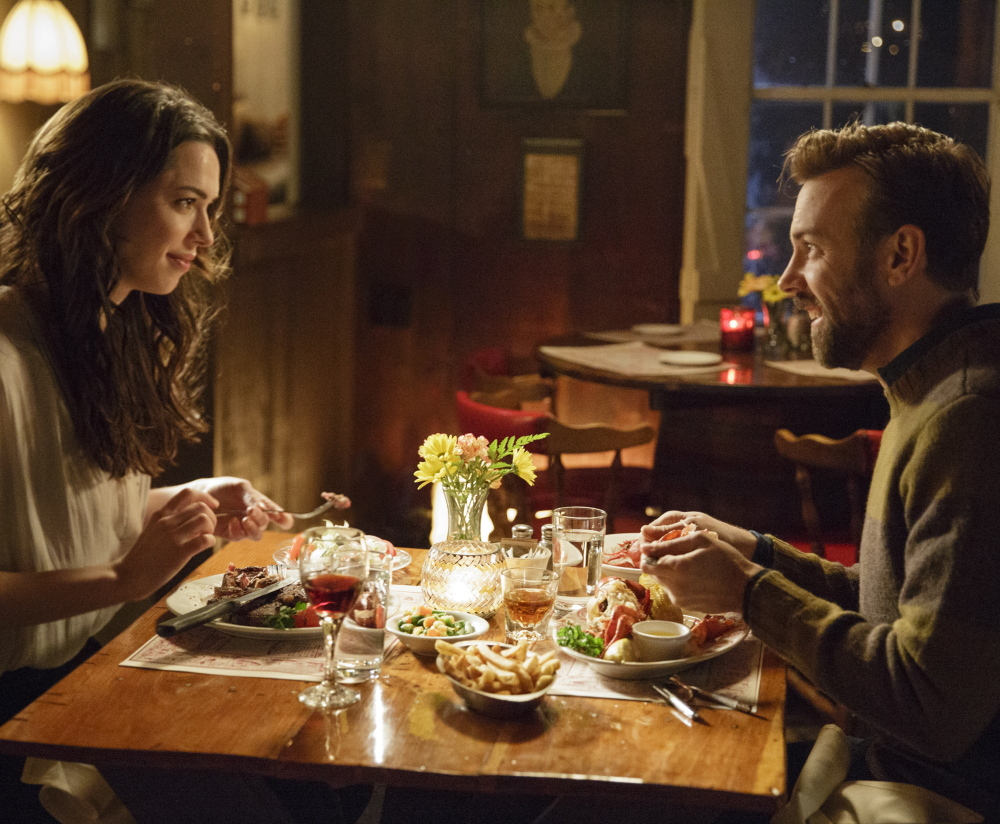 """Rebecca Hall and Jason Sudeikis star in the new movie """"Tumbledown,"""" a comedic love story set in a small town in Maine. The movie debuts in April at the Tribeca Film Festival."""