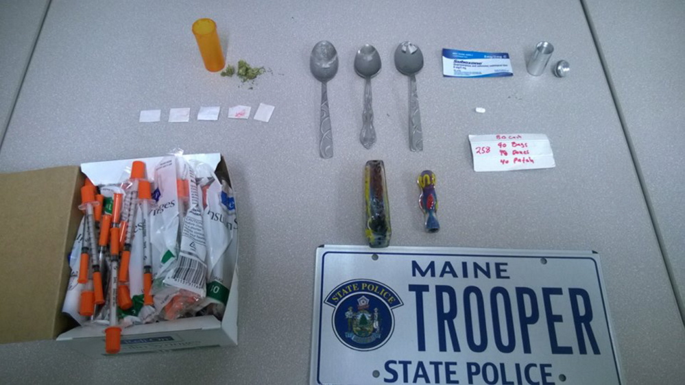 Police say they seized what they believe is heroin and other drugs and paraphernalia from Gregory Strout of Cornville after a traffic stop Monday. Courtesy Maine State Police