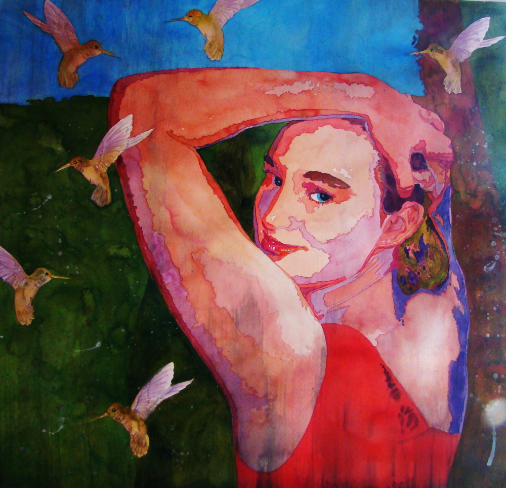 """A watercolor painting by artist Evelyn Dunphy of West Bath has been selected for the National Association of Women Artists juried exhibition, """"Portraits, Interior & Exterior,"""" at the Arts Club of Washington, D.C. The painting """"Ready to Fly"""" will be on view April 3-25. In addition, her painting """"Exuberance"""" will be in the International Guild of Realism's Museum Tour, which will travel to Louisiana, Florida, Georgia and Michigan."""