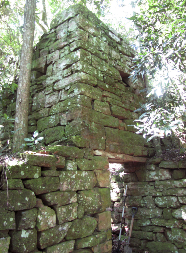 The remains of a building stand inside Teyu Cuare Park near San Ignacio in the northeastern province of Misiones, Argentina, in this photo released by the University of Buenos Aires Urban Archeology Center.