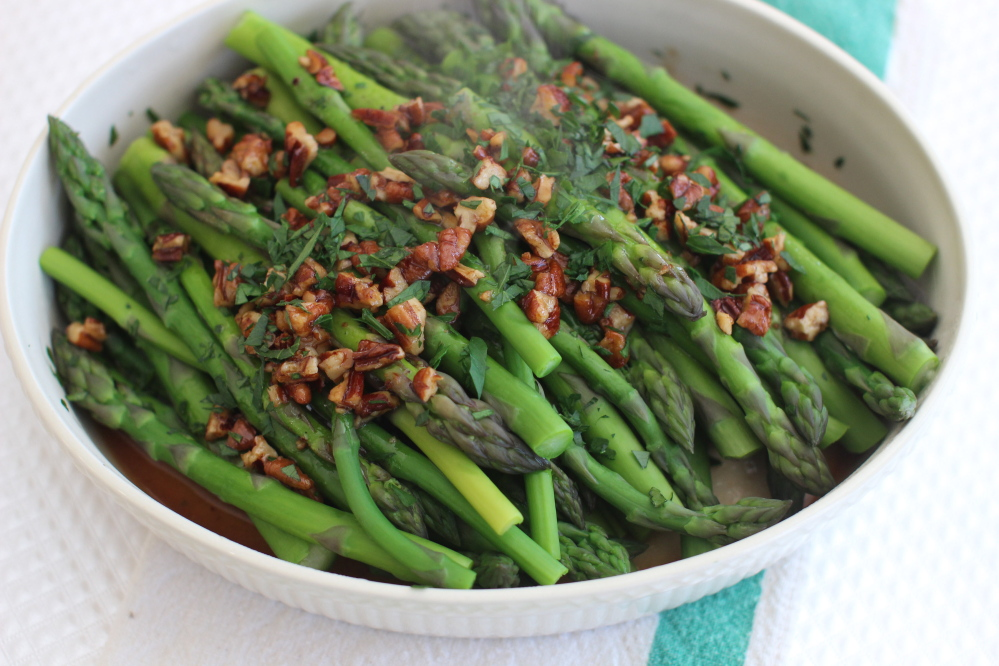 A bit of soy sauce adds flavor to Brown Butter Asparagus with Pecans.