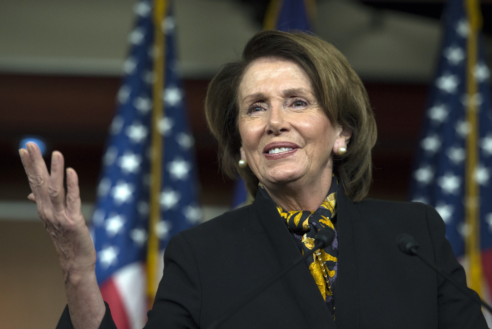 House Minority Leader Rep. Nancy Pelosi of California speaks on Capitol Hill, where a rare alliance between party leaders passed a $214 billion measure permanently blocking deep cuts in doctors' Medicare fees.