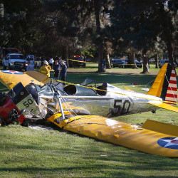 Actor Harrison Ford was injured when he crash landed this plane at Penmar Golf Course in Los Angeles, California, on Thursday.