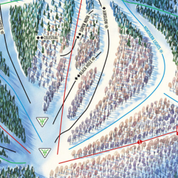 An excerpt of the Sunday River trail map shows the Black Hole trail near the base of the Aurora Peak ski trails.