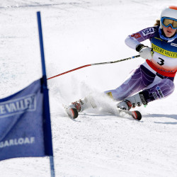 Nina O'Brien, of Vail Colo., sets up a turn during the second run of the women's giant slalom ski race at the U.S. Alpine Ski Championship in Carrabassett Valley. O'Brien won the race.