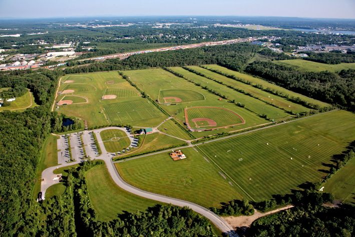 Police say the altercation occurred in the parking lot, lower left, of the Wainwright Recreation Complex. City of South Portland website image