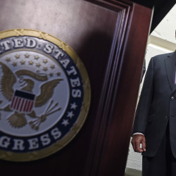 House Speaker John Boehner of Ohio listens during a news conference following a meeting on Capitol Hill in Washington on Wednesday. Boehner said he's waiting for the Senate to act on legislation to fund the Homeland Security Department ahead of Friday's midnight deadline. The Associated Press