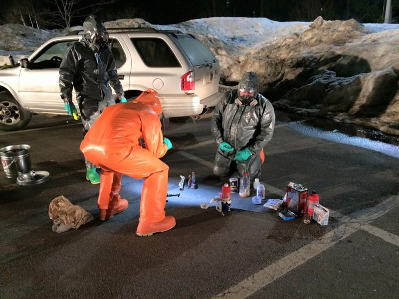 Maine Drug Enforcement Agency agents dismantle a one pot meth lab discovered in a Brunswick man's vehicle.