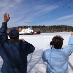 The Coast Guard cutter Thunder Bay breaks ice on the Kennebec River Wednesday morning near Richmond.