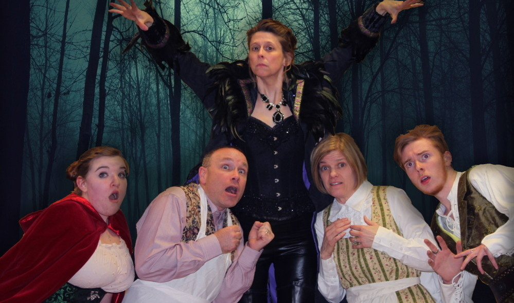 """Contributed photoCast members rehearsing for """"Into the Woods"""". From left are Mikayla Burridge, Little Red Riding Hood; Dan Neal, baker; Lisa Neal, witch; Valerie Glueck, Baker's wife and Randy Rodrique, Jack (of Bean Stalk fame). Into the Woods is scheduled for weekends April 10-19 at the Waterville Opera House."""