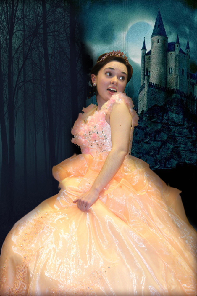 Contributed photo   Emily DenBleyker rehearsing her role as Cinderella. Into the Woods is scheduled for weekends April 10-19 at the Waterville Opera House.