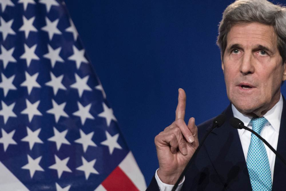 "U.S. Secretary of State John Kerry, speaking to the press in Lausanne, Switzerland, on Thursday, said, ""Simply demanding that Iran capitulate makes a nice sound bite, but it is not a policy, it is not a realistic plan."""