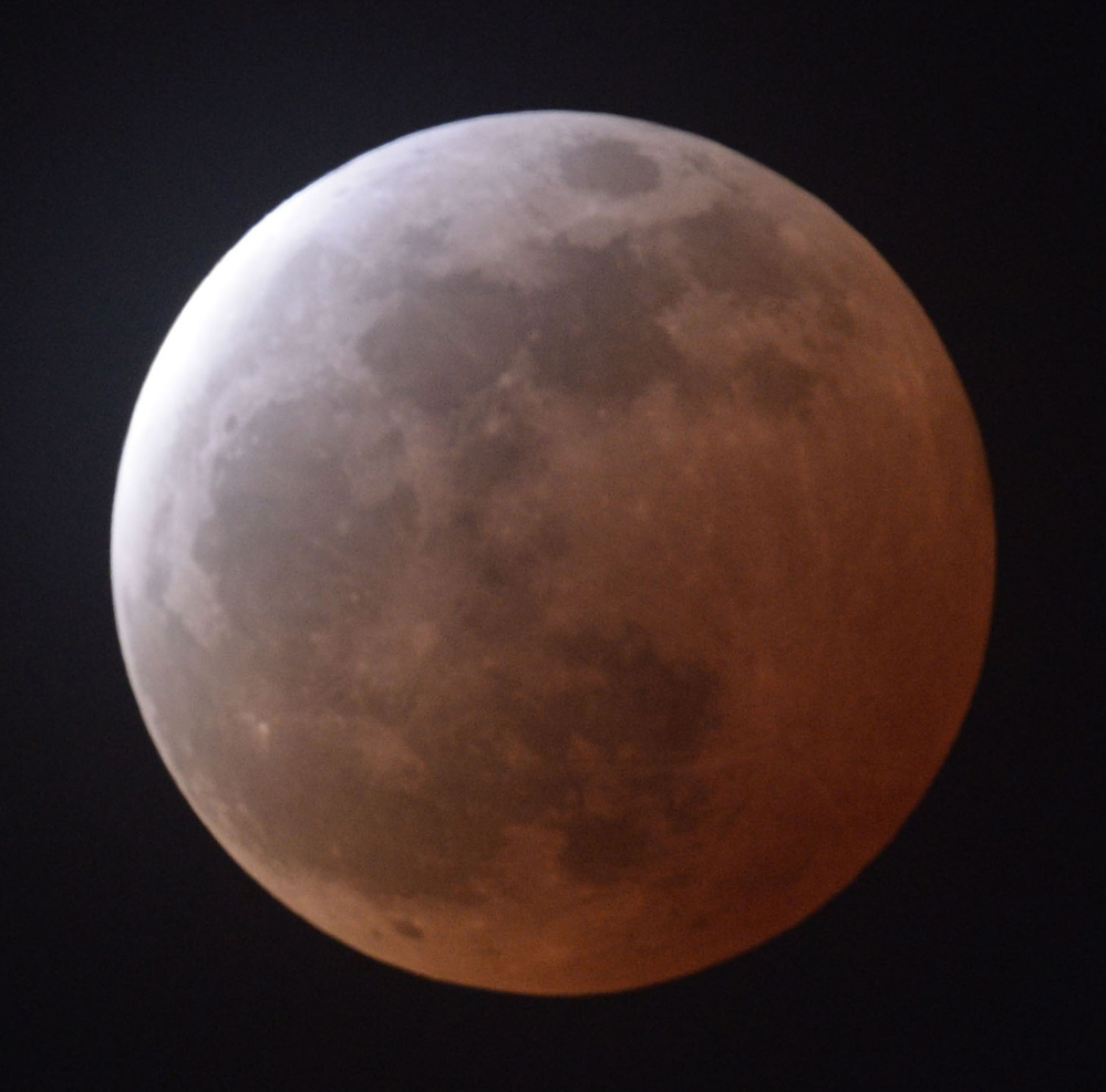 A total lunar eclipse is observed in Sendai, Miyagi prefecture, northeastern Japan, on Saturday.