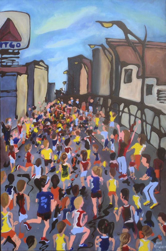 """Runners surge past Boston's iconic Citgo sign as they head toward the Boston Marathon finish in """"The Home Stretch,"""" a painting by Hope Phelan."""