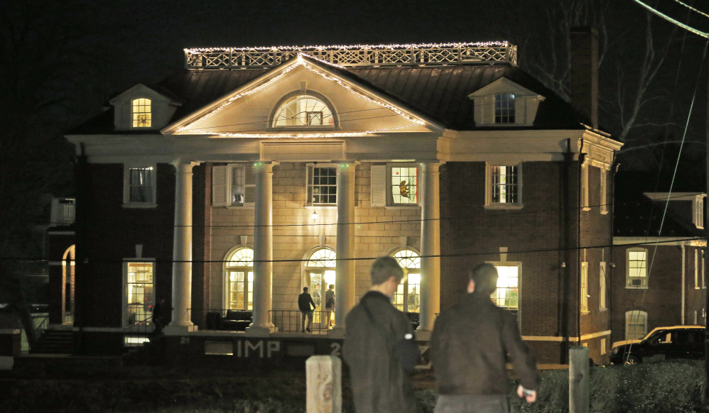 Students participating in rush pass by the Phi Kappa Psi house at the University of Virginia in Charlottesville, Va., in this Jan. 15 file photo.