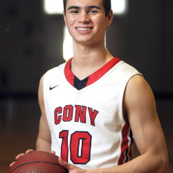 Cony High School's Liam Stokes at the Augusta school on Tuesday March 24, 2015.  Stokes is the Kennebec Journal's basketball player of the year.