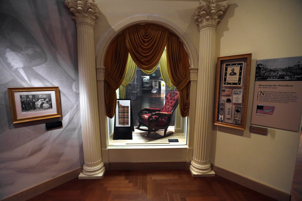 The chair in which President Abraham Lincoln was assassinated on April 14, 1865 is shown on display at the Henry Ford Museum in Dearborn, Mich., March 23.