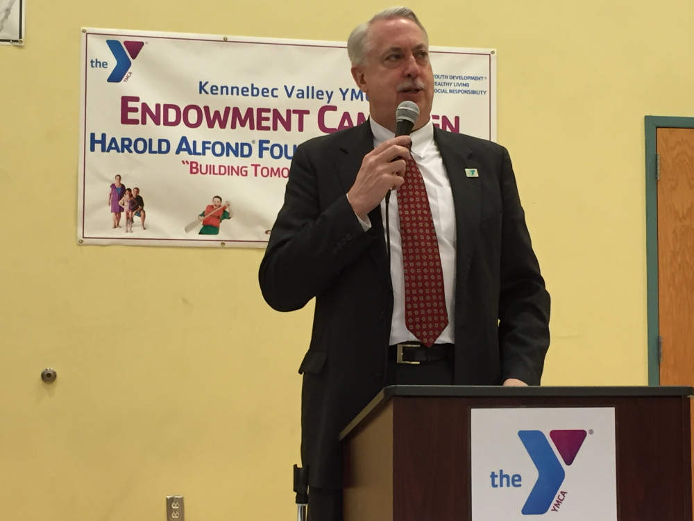 Harry Lanphear, board president and Endowment Committee Chairman, speaks during the Kennebec Valley YMCA held its 2015 Endowment Campaign Kick-Off and Donor Appreciation event April 2 at the Kennebec Valley YMCA Harold Alfond Gymnasium.