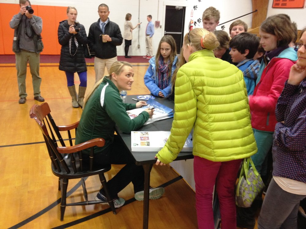 Julia Clukey, of Augusta, talks to students at North Yarmouth Academy on Tuesday morning.