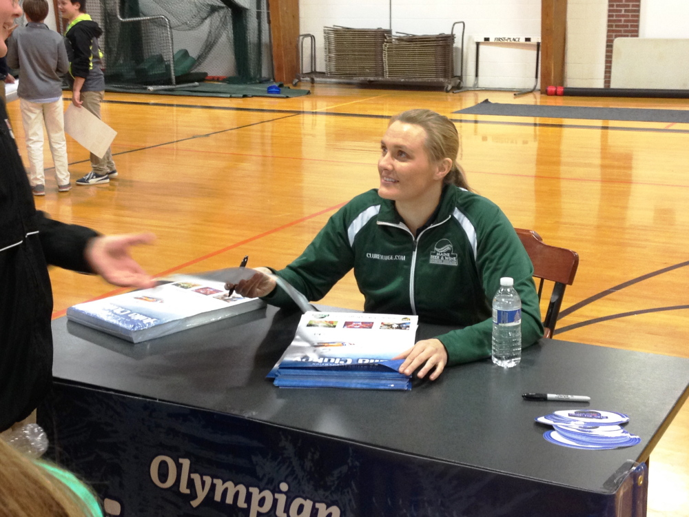 Julia Clukey, of Augusta, met and talked to students at North Yarmouth Academy on Tuesday afternoon.