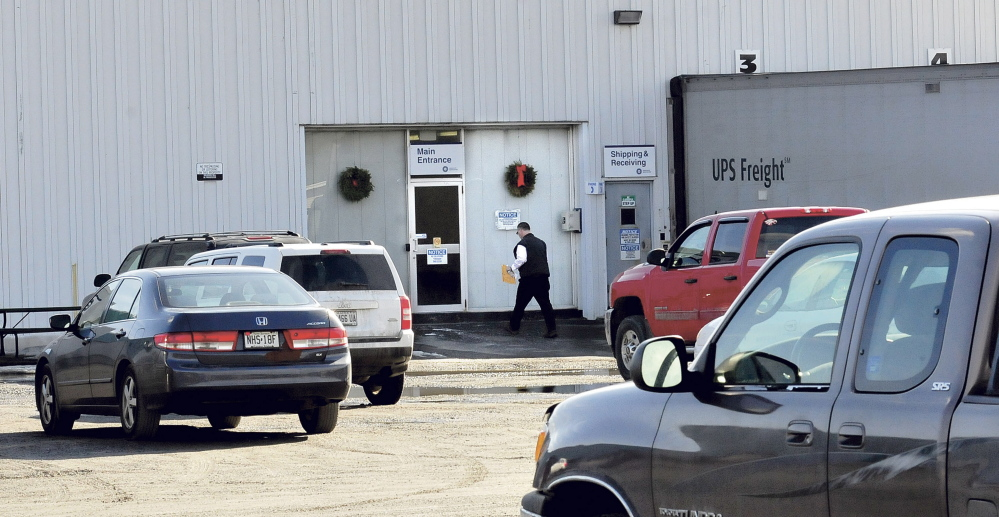 The main entrance to the Midstate Berkshire company in Waterville on Tuesday. The company laid off 70 employees last week and said it would move precision equipment out of the West River Road location, costing the city nearly $120,000 in property tax revenue.